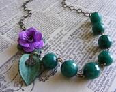 Enameled Rose Necklace Retro Vintage Style Modern Vintage Necklace