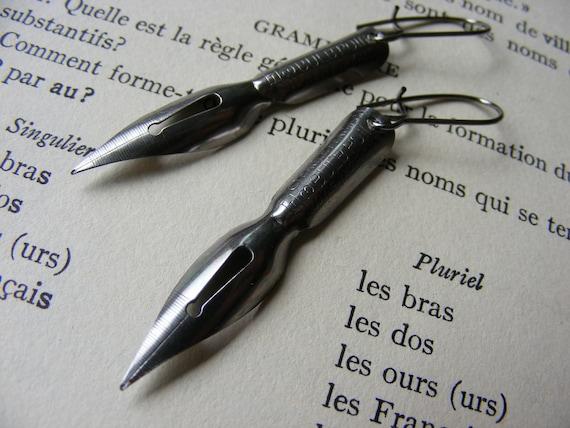 Vintage Pen Nib Earrings Steampunk Writers Repurposed Green Jewelry