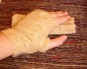 Cream Fingerless Gloves - Hand Knitted