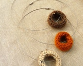 Hand Knit O Necklace in Pumpkin Orange