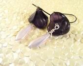Flower and Petal Earrings - Lilac & Purple