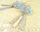 Circle & Icicle Earrings - White and Light Blue