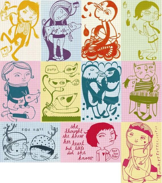flamboyant cards of serendipity - 11 screenprinted cards