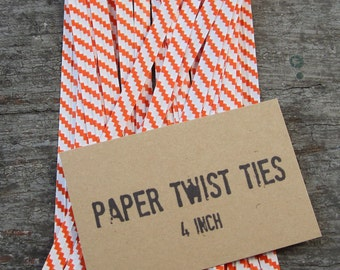 100 Orange and White Twist Ties, Paper & Wire Ties, Stripes Paper Ties