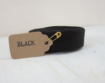Black Twill Tape Ribbon, 3/4 inch wide, Cotton Twill Tape, 5 yards, Sewing Twill Tape