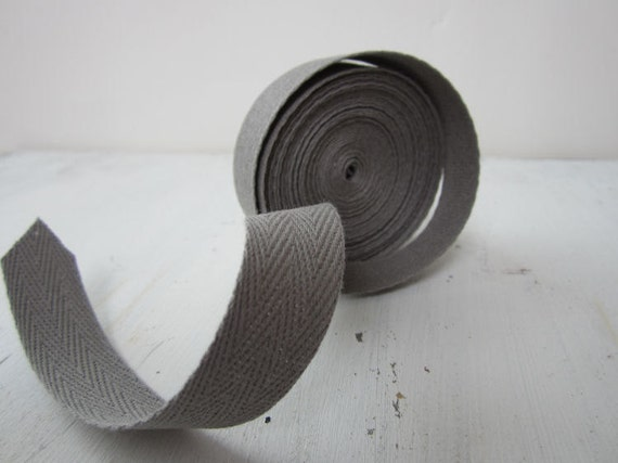 Slate Gray Twill Tape Ribbon, 3/4 inch  wide, Cotton Twill Tape, Sewing Twill Tape, 5 yards