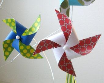 Pinwheel Mobile / Baby Mobile / Crib Mobile / Baby Boy Mobile / Baby Girl Mobile / Red, Blue, Green, Yellow and White : Funtastic