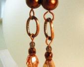 Copper Pearl, Peach and Denim Swarovski Crystal Earrings
