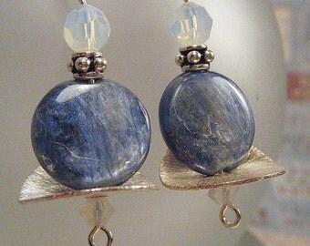 Kyanite Circle Silver Disk Earrings