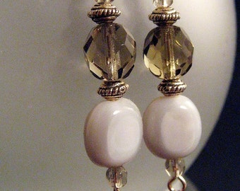 Mystical Crystal and Silver Evening Earrings-RESERVED