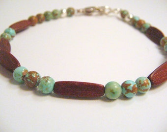 Green Turquoise and Wood Bracelet