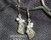New MARKDOWN and FREE Shipping-Shimmering Silver Pearl Dangly Earrings
