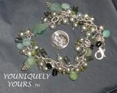 SALE-Aquamarine, Tourmaline, Peridot, Amazonite, Quartz and Pearl Pearl Bracelet