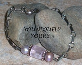 RARE Natural Kunzite Gemstone and Pearl Bracelet