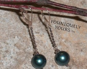 12mm Blue Pearl Dangle Earrings