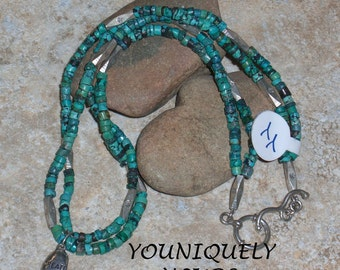 CREATE Turquoise and Silver Double Strand Necklace