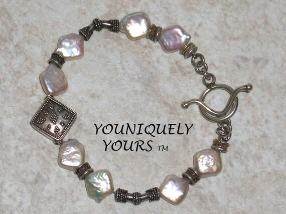 SALE Creamy DIAMOND SHAPED Freshwater Pearl and Bali Bracelet