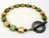 Organic Olive Green and Cream colored Bracelet   Earth Day  delicate jewelry