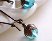 Aqua Earrings, Teal Earrings, Blue Earrings, Brown Brass Earrings, Gift for Her Jewelry