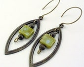 Olive Bohemian Brass Earrings