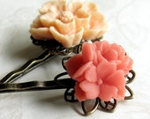 Peach and Coral Flower Hair Pins Cottage Style Shabby Chic Mothers Day Outdoor Bridal Garden