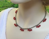 Red Berry Necklace,  Red Cherry Necklace, Berry Necklace, Gift for Her Jewelry