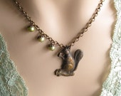 Squirrel and Three Freshwater Pearl Acorn Nuts Asymmetrical Brass Necklace Jewelry