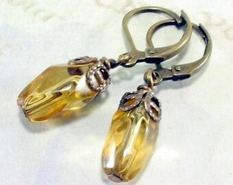 Topaz Earrings, Glass Topaz Earrings, Vintage Style, Gift for Her Jewelry
