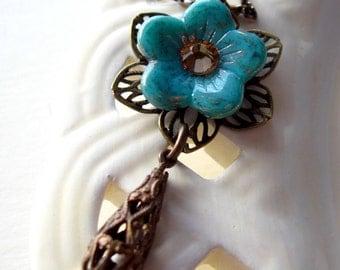 Pendant Necklace, Flower Pendant Necklace, Blue Flower Necklace