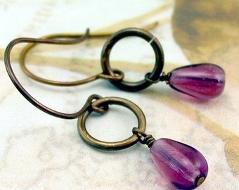 Purple Circle Drop Earrings Shabby Chic Cottage Style Mothers Day Outdoor Wedding Garden