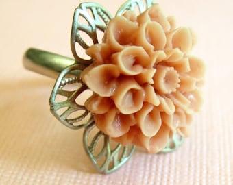Peach Flower Ring, Novelty Ring, Silver Peach Ring, Flower Ring