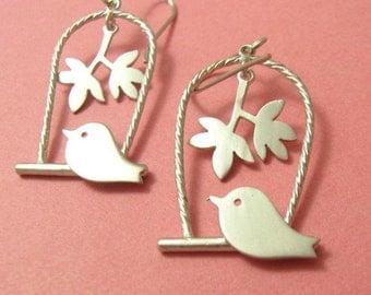Silver Bird Cage Earrings