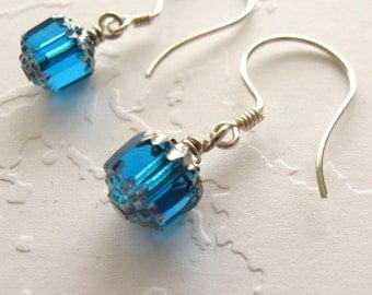 Blue Earrings Silver Blue Earrings Sterling Silver Petite Blue Earrings Cerulean Blue Silver Earrings Blue Dangle Earrings Capri Blue