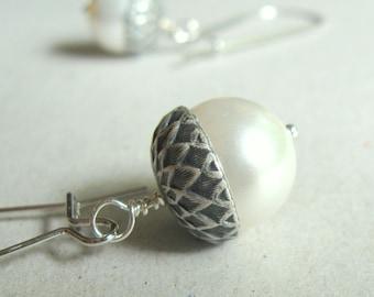 Acorn Earrings, Pearl Acorn Jewelry, Silver Pearl Acorn Earrings, Custom Wedding Earrings,  Bridal Earrings