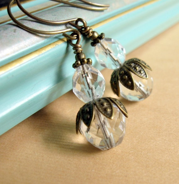 Crystal Clear Petal Dancer Earrings Shabby Chic Cottage Style Mothers Day Outdoor Wedding Garden