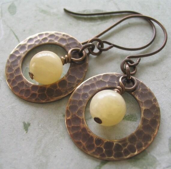 Pale Yellow Gemstone Drops inside Hammered Rings Brass |Light Yellow Gemstone Earrings