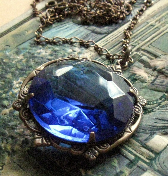 Blue Sapphire Glass Pendant Necklace    Shabby Chic Cottage Style Mothers Day Outdoor Wedding Garden