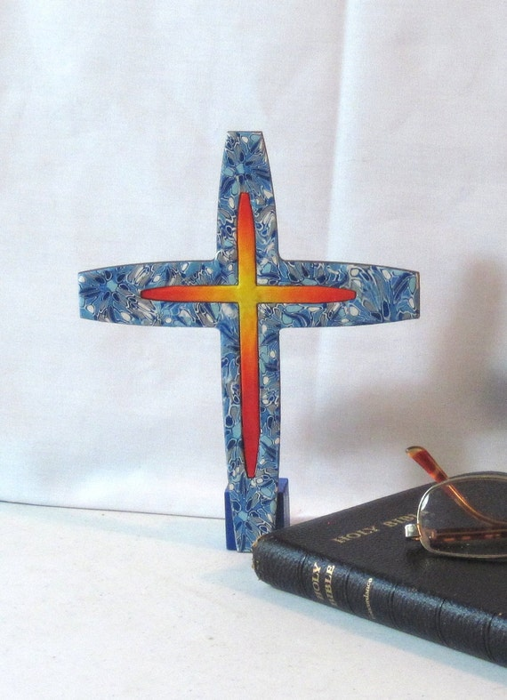 Polymer clay/wood standing CROSS