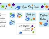 Birdland Premade Etsy Shop Design Set