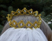 Golden Princess Tatted Lace Wedding Crown with Swarovski Crystals