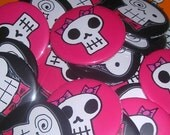 Little Skull Girl pin badge button 2.25 inch original drawing