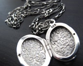 Sterling Silver Engraved Oval Locket Pendant on 2 Chains