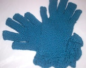 Women Ocean Blue Gloves with Leaf Trim - READY TO SHIP