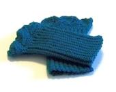 Knitted Leaf Trimmed Wristlets Pattern - PDF