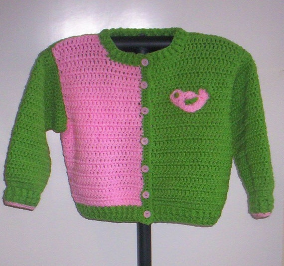 Pink and Bright/Lime Green Girl's Cardigan - Size 4T- Handcrocheted- Ready to Ship -  Back to School