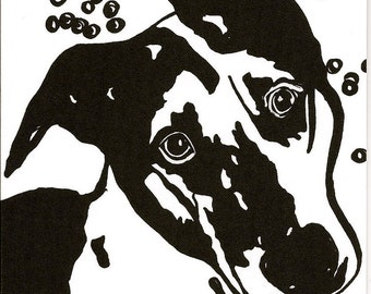 greeting card dog- Original - black and white print from my original shelter dog drawing. Ships everywhere