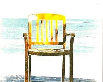 greeting card beach chair-Original photo- chair on beach MISS YOU. Ships everywhere