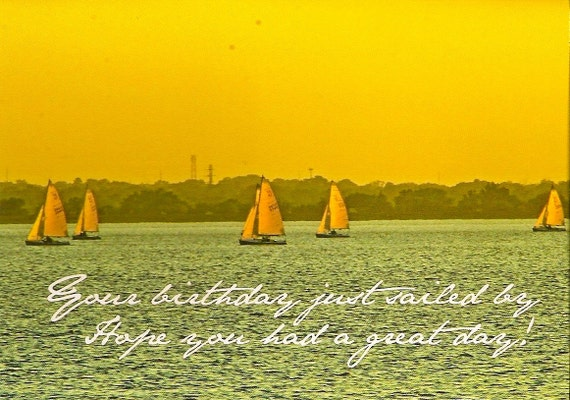 Greeting photocard Sailboat -Orignial-  Missed birthday sailboats on lake in Oklahoma vintage look. Ships everywhere