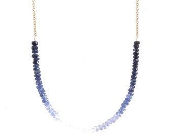 Blue Sapphire Necklace/Shaded Strand/14k Gold Fill Chain/Ombre Jewelry/Handmade Jewelry