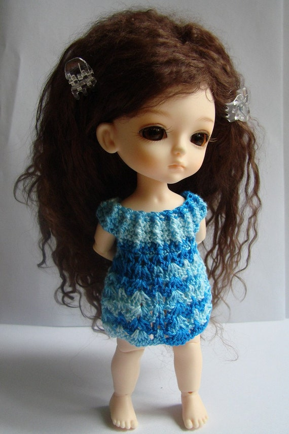 SALE spring buds blue with clouds crocheted dress for lati yellow \/adonis jaime
